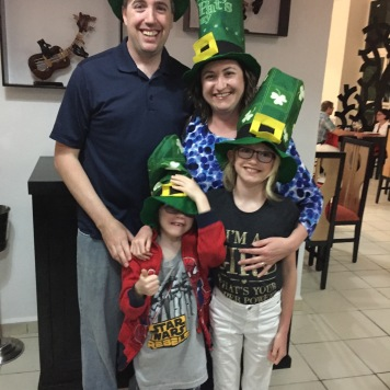 A family pic after our St. Patrick's Day dinner.