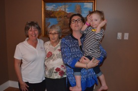 Auntie Linda, Auntie Joyce, Melissa and Violet (Grandma Rose's painting in the background)