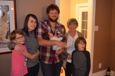 Abby, Stephanie, Philip holding Shelby, Auntie Linda and Aiden