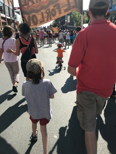 Peter & Aiden marching in the Pride Parade
