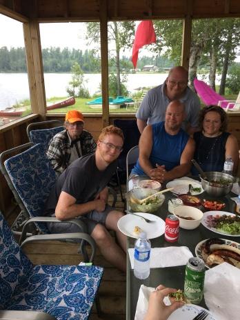 Lucas, Uncle Al, Aaron, Bruce and Chantale enjoying food in the gazebo.