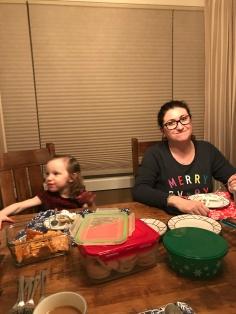 Auntie Melissa and Violet enjoying some dessert together