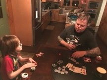 Uncle Jason teaching Aiden how to play Poker
