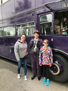 Abby & Melissa with Stan Shunpike in front of the Nightbus