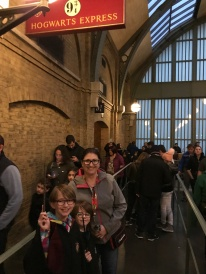 Melissa and the kids waiting for The Hogwarts Express