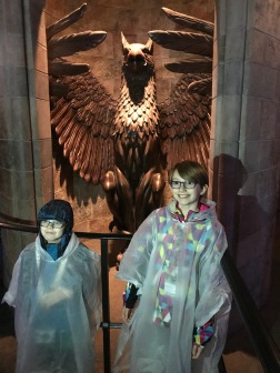Abby & Aiden in front of the entrance to Dumbeldore's Office