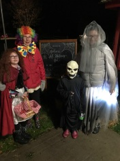 The Ghost of Red Rising Hood (Abby), the Clown (Grandma), the Grim Reeper (Aiden) and the Ghost bride (Melissa)