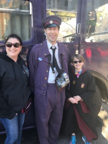 Melissa & Abby with Stan Shunpike in front of The Night Bus