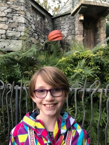 Abby in front of Hagrid's Cottage