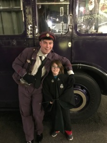 Aiden with Stan Shunpike in front of The Night Bus