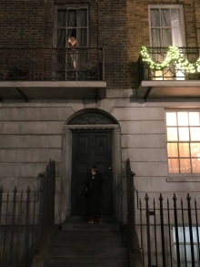 Aiden in front of 12 Grimmauld Place