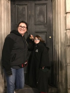 Melissa & Aiden in front of 12 Grimmauld Place