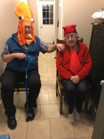 Papa and Mama ready to hand out candy