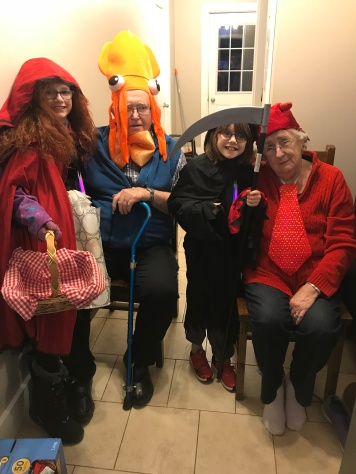 Abby, Papa, Aiden & Mama before the kids went out to trick or treat