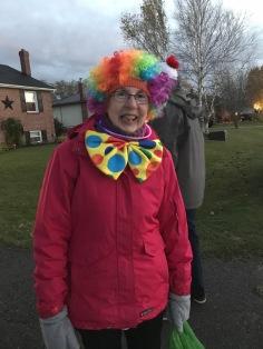 Grandma getting ready to trick or treat