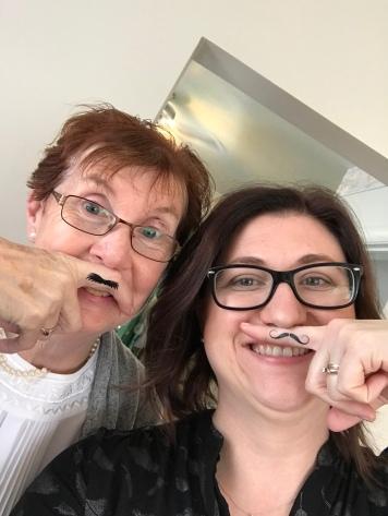 Mustache selfie of Jackie & Melissa