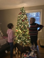 Mama & Abby inspecting the tree after completing decorations