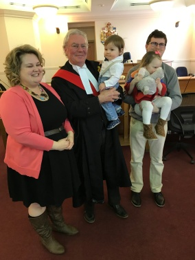 Megan, Shawn, Violet and Oscar with the same Judge that finalized Violet's adoption