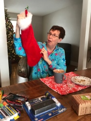 Grandma checking out her stocking