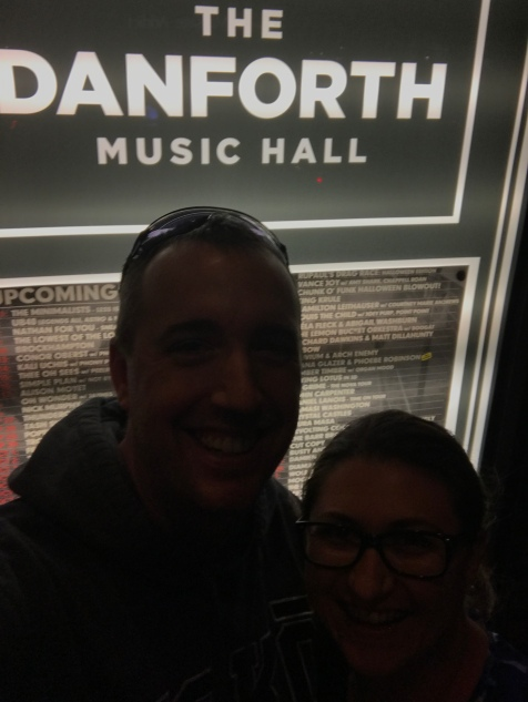 Peter & Melissa selfie outside The Danforth Music Hall after watching The Minimalists