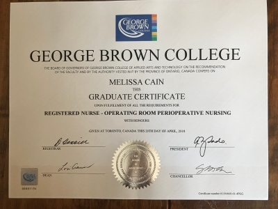 Melissa attending George Brown: Jan-March, 2018