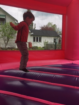 Macklan in the bouncy castle